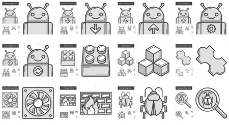 Programming vector line icon set isolated on white background. Programming line icon set for infographic, website or app. Scalable icon designed on a grid system. Illusztráció