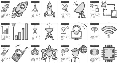 data transmission: Technology vector line icon set isolated on white background. Technology line icon set for infographic, website or app. Scalable icon designed on a grid system.