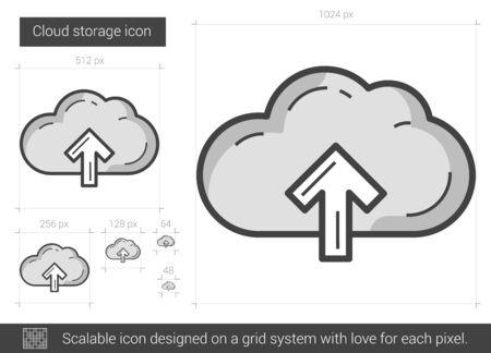 storage: Cloud storage line icon.