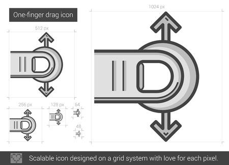 One-finger drag line icon. Illusztráció