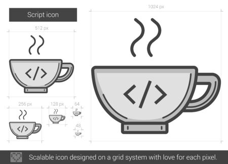 Script vector line icon isolated on white background. Script line icon for infographic, website or app. Scalable icon designed on a grid system. Çizim