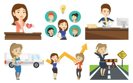 Caucasian business team working on a new idea. Business team discussing idea. Business team connected by one idea light bulb. Set of vector flat design illustrations isolated on white background.