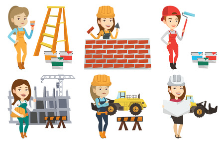 Caucasian engineer with a blueprint at construction site. Engineer holding twisted blueprint. Engineer checking construction works. Set of vector flat design illustrations isolated on white background