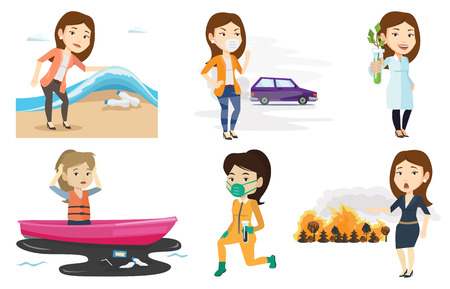 Woman standing on the background of car and wearing mask to reduce the effect of traffic pollution. Concept of toxic air pollution. Set of vector flat design illustrations isolated on white background