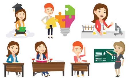 Student carrying out laboratory experiment. Student working with microscope at laboratory class. Girl experimenting in laboratory. Set of vector flat design illustrations isolated on white background. Иллюстрация