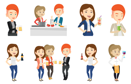 clinking: Women toasting and clinking glasses of beer. Caucasian women clanging glasses of beer. Group of friends enjoying a beer at pub. Set of vector flat design illustrations isolated on white background.