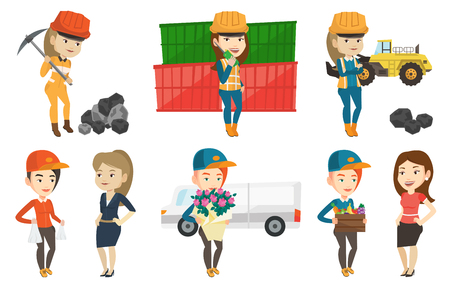 Delivery courier delivering online shopping order to customer. Woman receiving packages with groceries from delivery courier. Set of vector flat design illustrations isolated on white background.