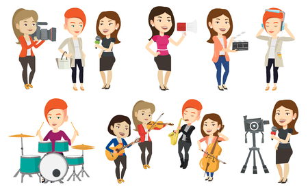 Caucasian reporter with microphone interviews a woman. Operator filming interview. Journalist making interview with businesswoman. Set of vector flat design illustrations isolated on white background.