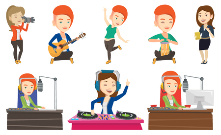 Dj working in front of microphone, computer and mixing console on radio. Caucasian female dj in headset working on a radio station. Set of vector flat design illustrations isolated on white background