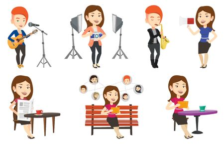 character design: Young caucasian woman using tablet computer in a cafe. Woman surfing in the social network. Woman rewriting in social network. Set of vector flat design illustrations isolated on white background. Illustration