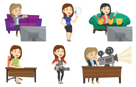 article writing: Happy woman playing video game. An excited young woman playing video game at home. Woman celebrating her victory in video game. Set of vector flat design illustrations isolated on white background.