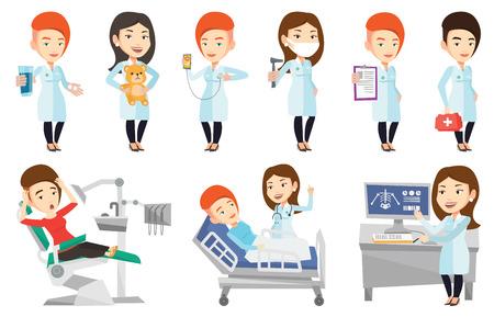 Médecin examinant une radiographie. Docteur en regardant une radiographie du thorax sur écran d'ordinateur. Docteur en observant une radiographie du squelette. Ensemble de vecteur plat conception illustrations isolé sur fond blanc.