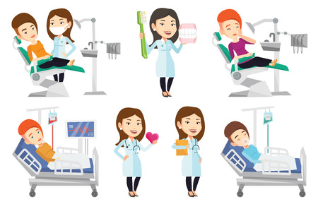 illustration collection: Woman sitting in dental chair while dentist standing nearby. Doctor and patient in dental clinic. Patient on reception at dentist. Set of vector flat design illustrations isolated on white background.