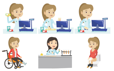dispensary: Pharmacist standing at the counter in the pharmacy. Pharmacist showing some medicine. Female pharmacist holding a box of pills. Set of vector flat design illustrations isolated on white background. Illustration