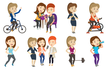 Woman riding stationary bicycle in the gym. Woman exercising on stationary training bicycle. Woman training on exercise bicycle. Set of vector flat design illustrations isolated on white background. 向量圖像