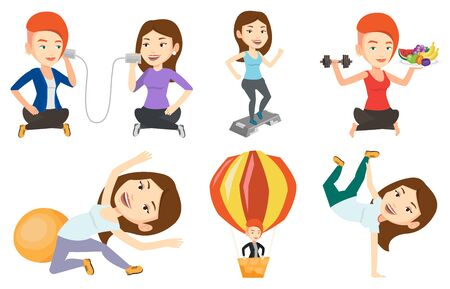 Caucasian woman training with stepper in the gym. Woman working out with stepper in the gym. Sportswoman standing on stepper. Set of vector flat design illustrations isolated on white background.