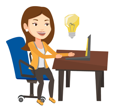 Businesswoman working on laptop on a new business idea. Caucasian happy woman having a business idea. Successful business idea concept. Vector flat design illustration isolated on white background.