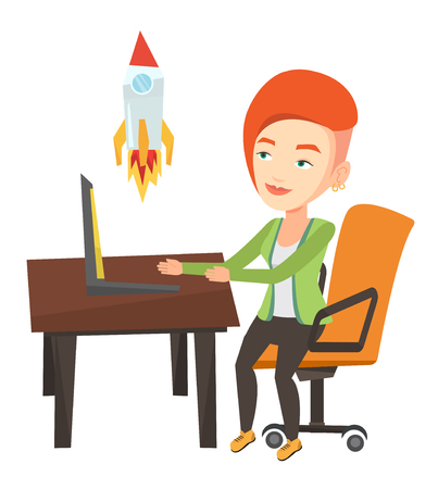 Caucasian businesswoman looking at business start up rocket. Young businesswoman working on business start up. Business start up concept. Vector flat design illustration isolated on white background.