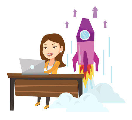 Young caucasian businesswoman working on business start up and business start up rocket taking off behind him. Business start up concept. Vector flat design illustration isolated on white background.
