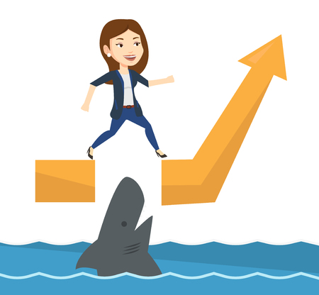 Businesswoman running on growth graph and jumping over gap. Businesswoman jumping over sea with shark. Business growth and risks concept. Vector flat design illustration isolated on white background.