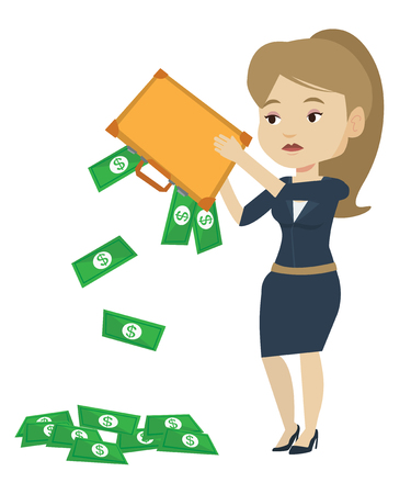 emptying: Depressed caucasian bankrupt shaking out money from briefcase. Despaired bankrupt business woman emptying a briefcase. Bankruptcy concept. Vector flat design illustration isolated on white background Illustration