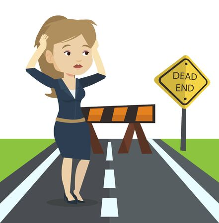 business obstacle: Businesswoman looking at road sign dead end symbolizing business obstacle. Woman facing with business obstacle. Business obstacle concept. Vector flat design illustration isolated on white background.