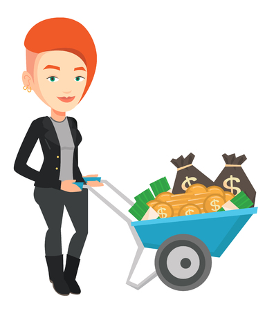 Rich businesswoman with wheelbarrow full of money. Businesswoman pushing wheelbarrow full of money. Wealthy businessman transporting money. Vector flat design illustration isolated on white background