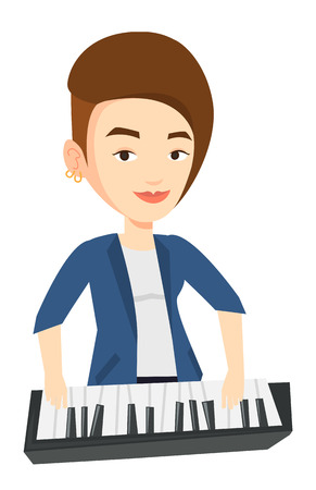 Young smiling musician playing piano. Pianist playing upright piano. Caucasian female pianist playing on synthesizer. Vector flat design illustration isolated on white background.