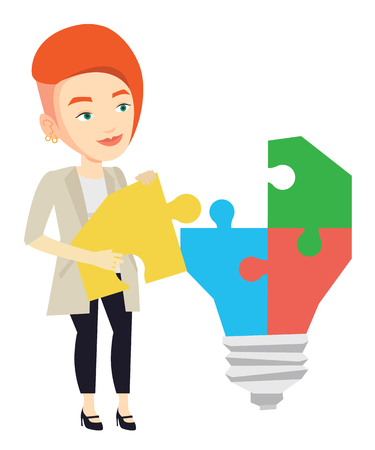 Business woman completing idea bulb made of puzzle. Business woman inserts the missing puzzle in idea light bulb. Business idea concept. Vector flat design illustration isolated on white background. Illustration