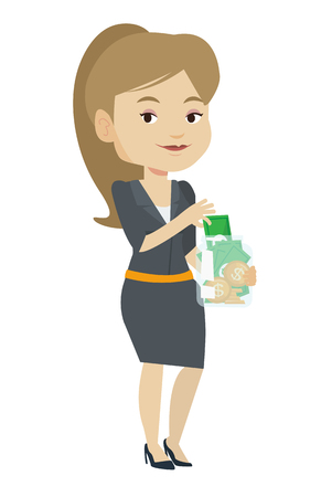 Caucasian businesswoman holding money jar. Business woman saving money banknotes in glass jar. Business woman putting money into glass jar. Vector flat design illustration isolated on white background