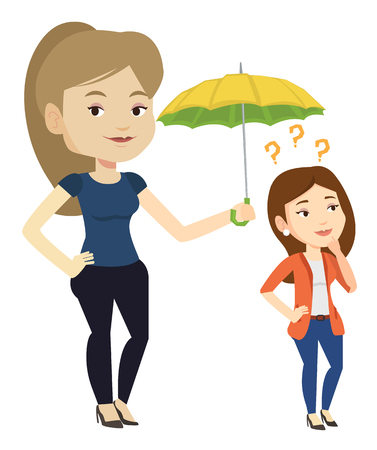 Businesswoman holding umbrella over young woman. Woman standing under umbrella and question marks. Concept of protection and insurance. Vector flat design illustration isolated on white background. Illustration