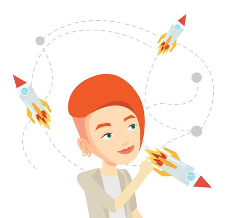 came: Caucasian woman looking at flying business rockets. Young woman came up with an idea for a business startup. Business startup concept. Vector flat design illustration isolated on white background.
