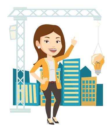 town planning: Caucasian woman pointing at idea light bulb hanging on crane. Architect having idea in town planning. Concept of new ideas in architecture. Vector flat design illustration isolated on white background