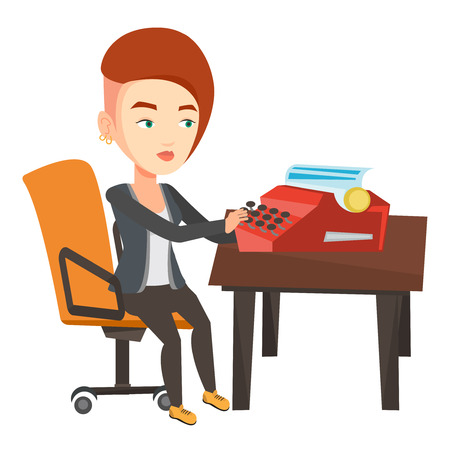 article writing: Young caucasian female journalist writing an article on a vintage typewriter. Concentrated female journalist working on retro typewriter. Vector flat design illustration isolated on white background..