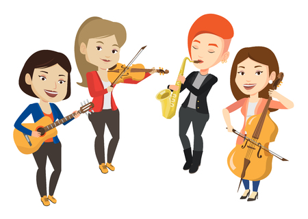 Band of musicians playing on musical instruments. Group of musicians playing on musical instruments. Musicians performing with instruments. Vector flat design illustration isolated on white background Illustration