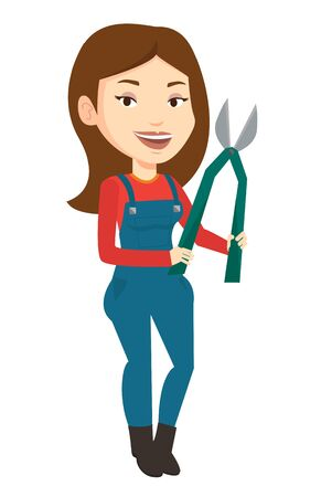 Caucasian gardener holding a pruner. Happy gardener is going to trim branches of a tree with a pruner. Gardener working with a pruner. Vector flat design illustration isolated on white background. Illustration