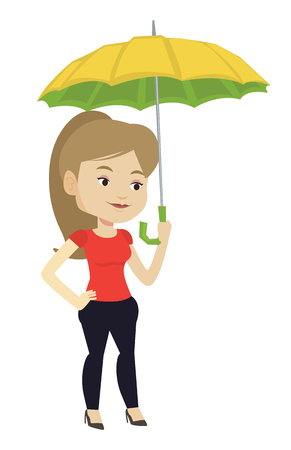 Caucasian cheerful insurance agent. Insurance agent standing safely under umbrella. Business insurance and business protection concept. Vector flat design illustration isolated on white background. Illustration