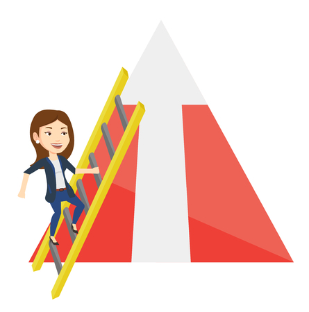 Business woman climbing the ladder. Business woman climbing on mountain with arrow going up. Woman climbing upward on the top of mountain. Vector flat design illustration isolated on white background. Illustration
