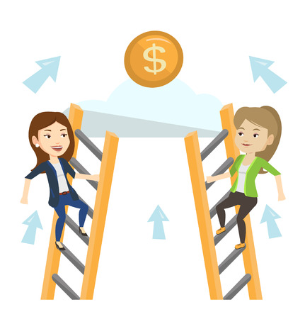 Two businesswomen competing for the money. Two competitive business women climbing the ladder on a cloud. Competition in business concept. Vector flat design illustration isolated on white background. Illustration