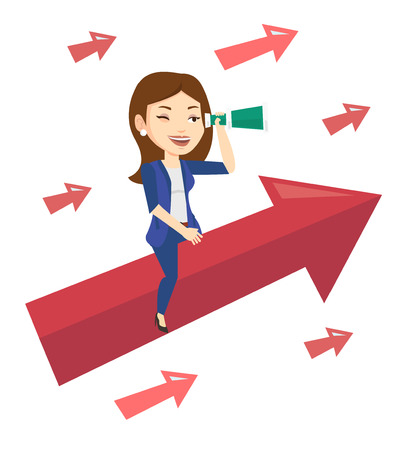 looking for job: Business woman searching for opportunities. Business woman using spyglass for searching of opportunities. Business opportunities concept. Vector flat design illustration isolated on white background.