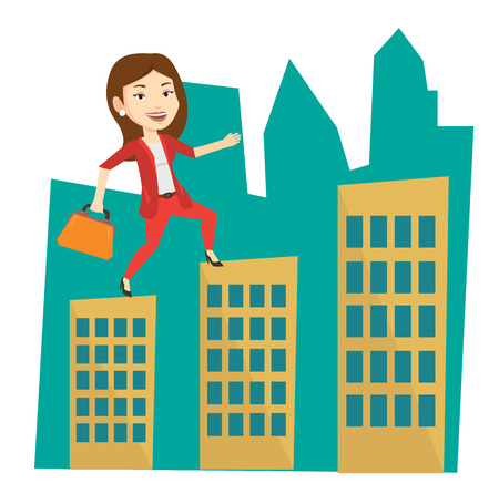 business woman: Business woman walking on the roofs of city buildings. Woman walking on the roofs of skyscrapers. Business woman walking to the success. Vector flat design illustration isolated on white background.