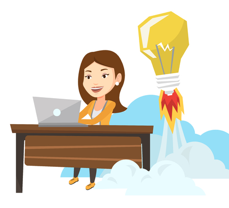 Business woman working on laptop in office and idea bulb taking off behind her. Businesswoman having business idea. Business idea concept. Vector flat design illustration isolated on white background Illustration