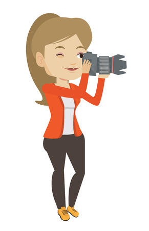 Female photographer taking a photo. Young photographer taking a picture. Caucasian photographer working with digital camera. Vector flat design illustration isolated on white background. Ilustração