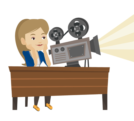 film projector: Woman sitting at the table with film projector in the room of projectionist. Projectionist showing new film. Young projectionist at work. Vector flat design illustration isolated on white background.