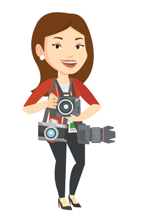 Cheerful paparazzi with many cameras. Caucasian photographer with many photo cameras equipment. Professional journalist with many cameras. Vector flat design illustration isolated on white background. Illustration