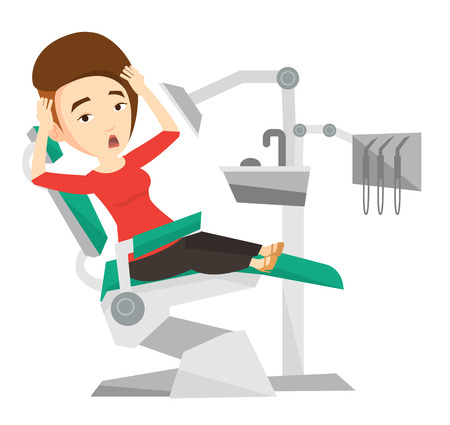 frightful: Frightened caucasian patient at dentist office. Scared woman in dental clinic. Girl visiting dentist. Afraid woman sitting in dental chair. Vector flat design illustration isolated on white background
