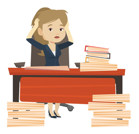 overload: Bsiness woman in despair sitting at workplace with heaps of papers. Stressful business woman sitting at the desk with stacks of papers. Vector flat design illustration isolated on white background.