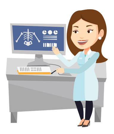 radiograph: Caucasian doctor examining a radiograph. Doctor looking at a chest radiograph on computer screen. Doctor observing a skeleton radiograph. Vector flat design illustration isolated on white background.