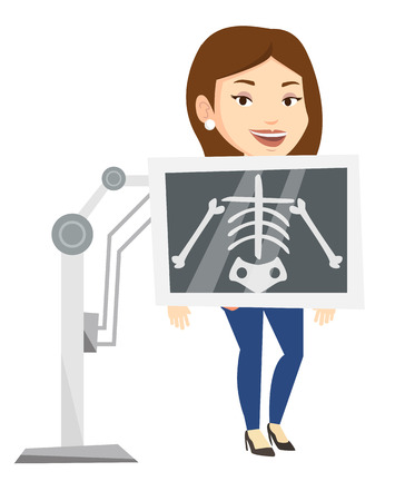 x ray machine: Young caucasian woman during chest x ray procedure. Woman with x ray screen showing her skeleton. Female patient visiting roentgenologist. Vector flat design illustration isolated on white background.