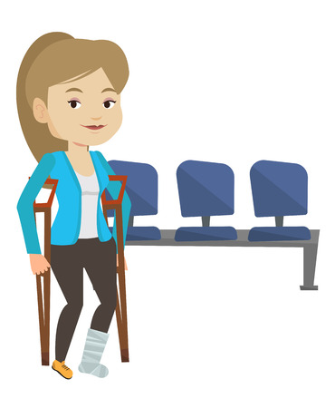 An injured caucasian woman with leg in plaster. Young woman with broken leg using crutches. Smiling woman with fractured leg. Vector flat design illustration isolated on white background.  イラスト・ベクター素材